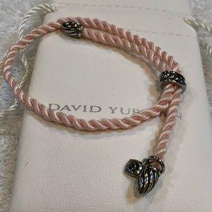 David Yurman SS pink silk cord adjust bracelet